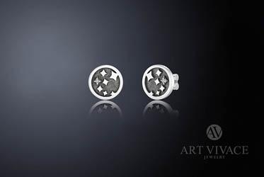 Серьги «Звездное небо» в серебре с бриллиантами
