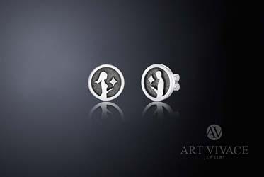 Серьги «Две половинки» в серебре