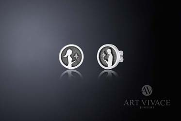Серьги «Две половинки» в серебре с бриллиантами